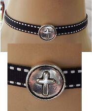 Silver Cross Choker Necklace Handmade Adjustable Black & White Ribbon NEW
