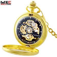 Gold Black Dial Steampunk Skeleton Antique Windup Mechanical Pocket Watch Chain
