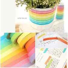 10X Decorative Washi Rainbow Sticky Paper Masking Adhesive Tape Label Craft  DIY