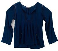 Daniel Rainn Womens Peasant Blouse Navy Blue Long Sleeve Split Neck Tassels L
