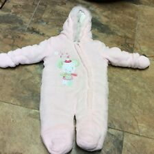 F&F baby girls THICK PADDED snowsuit age 6/9 months. soft fleece pink winter