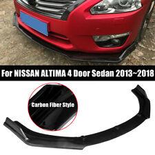 For NISSAN ALTIMA 4 Door Sedan 13-18 Carbon Fiber Style Front Bumper Lip Cover