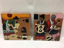 Lot 2 Arius Santa Fe Art Tiles: Eyedazzler Rug 1993 & Woman Weaving Baskets 1995
