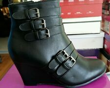 NATURE BREEZE Coco-02 short wedge boots, size 6.5, black with buckles, new $49