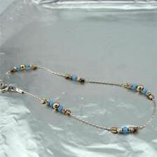 Hadar Designers 14K Gold Fil Sterling Silver Opal Anklet Foot Bracelet (L) SALE