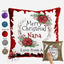 Merry Christmas Nana Personalised Sequin Cushion Throw Pillow Cover Grandmothers