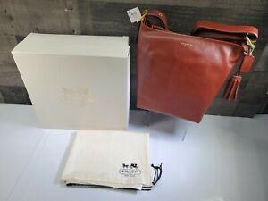 NWT AUTH COACH Duffle Legacy Leather Cognac color Crossbody Shoulder Bag Purse