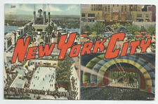 NEW YORK CITY Postcard Big Letter 1948 Radio City Music Hall Rockefeller Center
