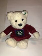 "Vintage Hallmark Kiss Mistletoe Bear Magnetic Nose 9"" Plush Snowflake"