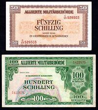 Billets de 50 et 100 Schilling Autriche 1944 Pick 109 et 110