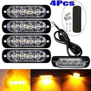 4x 4 LED Amber Recovery Strobe Flashing Grille Light Lightbar Truck Beacon Lamp