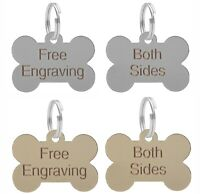 Dog Bone ID Tag Personalised Engraved Silver Or Brass 38mm Puppy Collar Chipped