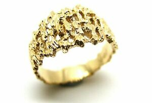 Kaedesigns New Size N 9ct 9k 375 Full Solid Yellow Gold Nugget Ring