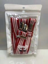 """NEW boys suspenders Red White Stripe School Costume Halloween Party 30"""" Long"""