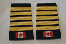 Canadian Fire 5 Five Bar Gold with Flag Shoulder Slip Ons Pair