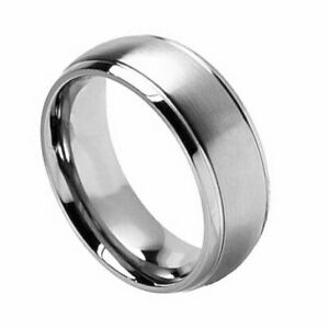 Men's 8mm Titanium Band Titanium Ring Brushed Center Shiny Grooved Edge
