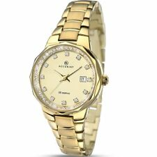Accurist Stone Set Gold Dial Ladies Watch with Bracelet Gold / Two Tone