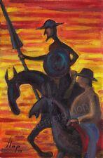 Artisteri / Llop - Quijote 27 - mini óleo s/lienzo original y enmarcado 32x25