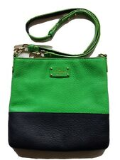Kate Spade Crossbody Bag Tote Purse Green/Black 100% Cow Leather