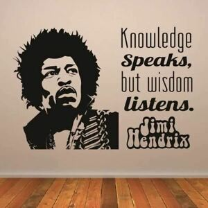 Jimi Hendrix Knowledge Speaks Quote Wall Art Sticker (AS10317)