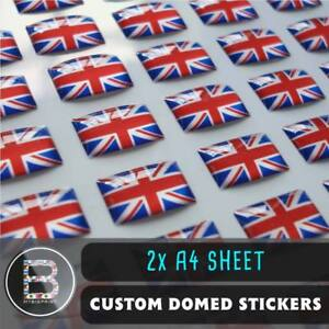 Custom Domed Resin Stickers / 2 x A4 SHEET / 3D Business Company Logo Labels