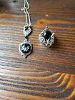 2 piece Halloween Vampire Bat Black Resin Pendant Necklace w/ Matching Ring
