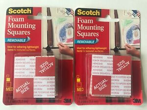 Scotch 3M Removable Mounting Squares 1 in x 1 in Lot 2 16 Square Pack 32 Total