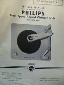 Philips AG1014  Record Changer  Original Service Manual