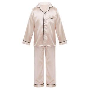 Unisex Kids Boys Girls Silk Pajamas Outfit Long Sleeve Two Piece Set Sleepwear