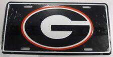 Georgia Bulldogs Embossed Aluminum License Plate Black G Tag Sign University Uga