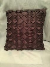 "Textured Pintucked Geometric Design Throw Pillow 16""x16"" Eggplant color EUC"