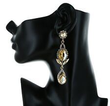 """3.45"""" Long Rhinestone Gold Chandelier Bridal Prom Party Pageant Stud Earring"""