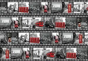 Vlies Fototapete XXL Filmstreifen aus London Stadt Wohnzimmer Tapete Wandtapete