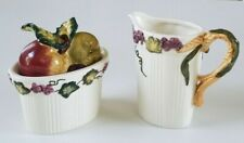 Vintage Bico China Harvest Fruits Sugar Bowl With Lid & Creamer Pitcher Set.