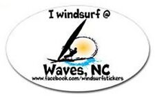 "I Windsurf @ Waves, Nc Bumper/Window Sticker Oval 3"" X 5"""