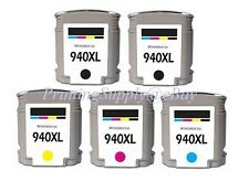 5PK New Hi-Yield 2BK & Color Ink W/Chip For HP 940XL OfficeJet Pro 8000 Pro 8500