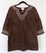 Brown Cotton Embroidered Tunic Shirt Blouse Top LARP Costume Cosplay Womens L
