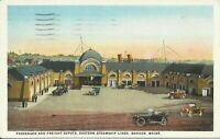 Bangor Maine Eastern Steamship Lines Passenger and Freight Depots 1925 Postcard