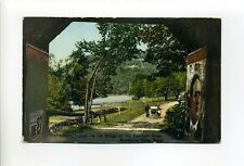 Shelburne Falls Ma Mass antique postcard, people, old bridge, giant poster, sign