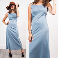 WOMENS VINTAGE BLUE STRAPPY MIDI DRESS 70'S PASTEL FITTED STRETCH CASUAL 10