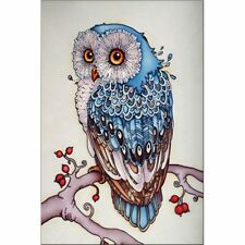 DIY 5D Full Drill Diamond Painting, Rhinestone Pasted Cross Stitch Blue Owl Y8J3