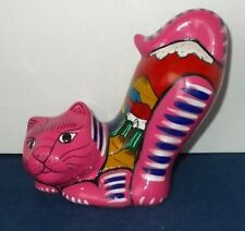 Mexican Guerrero Pottery Cat-Bright Pink w Blue Stripes-Mountain Scene-Adorable