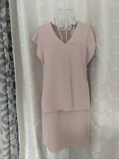 BNWT REISS TARQUIN DOUBLE LAYER ICE PINK DRESS SIZE 10 RRP £180