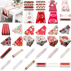 UK Christmas Tablecloth Table Runner Cover Mats Banquet Dining Table Xmas Decor