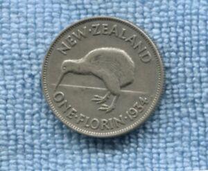 1934 New Zealand Silver Florin NZ  T-721