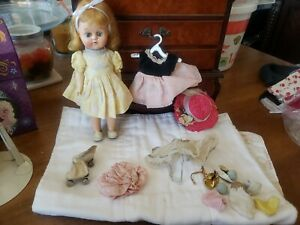 "Vintage 1950's Cosmopolitan GINGER 9"" doll with outfits and skates"