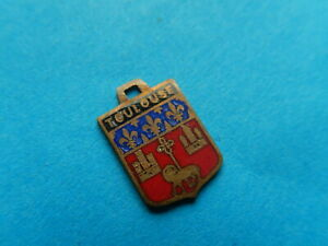 Vintage Enamel french Travel Shield Charms TOULOUSE CASTLE LAMB OF GOD