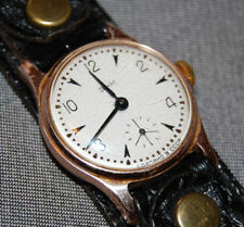 Gold Tone USSR Vintage Soviet Russian Mechanical Chronograph Watch Black Band