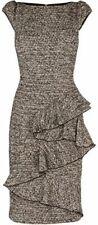 KAREN MILLEN Tan Brown Black Peplum Cotton Wool Tweed Dress Sz 4 Worn once Great