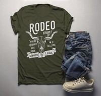 Men's Rodeo T Shirt Cowboys Vs. Bulls Shirt Vintage Cow Skull Graphic Tee Stradd